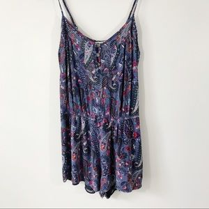 American Eagle Paisley Romper, Lined, Blue, M